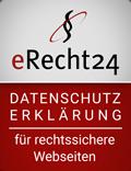 eRecht24 Siegel Datenschutzerklärung für rechtssichere Webseiten